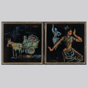 18: MASOOD KOHARI  Two works Enamel on Tile