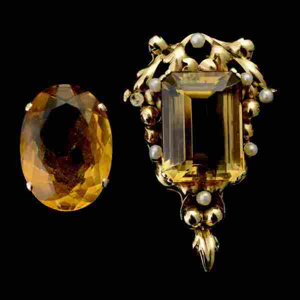 177: CITRINE, PEARL, 14K YELLOW GOLD JEWELRY SUITE.