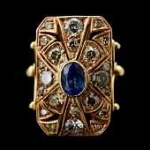 333: SAPPHIRE, DIAMOND, 14K YELLOW GOLD RING.