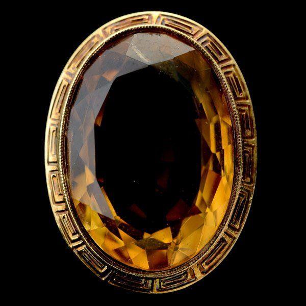 346: CITRINE, 14K YELLOW GOLD RING.
