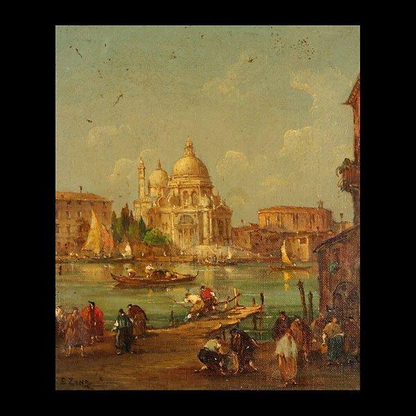 """E ZENO   """"Santa Maria della Salute""""  Oil on canvas"""