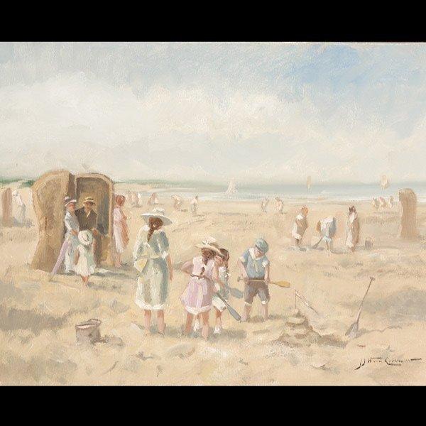 "J. J. LEEUWEN  ""Afternoon on the Beach"" Oil"