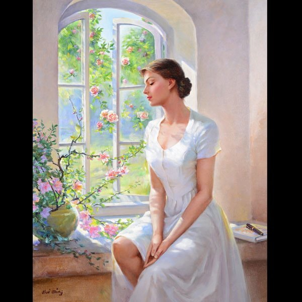 """HUI MING LIU  """"Woman in Window"""" Oil"""