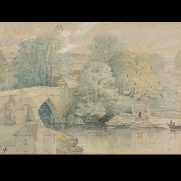 "JAMES CASSIE   ""River Scene"" Watercolor on paper"