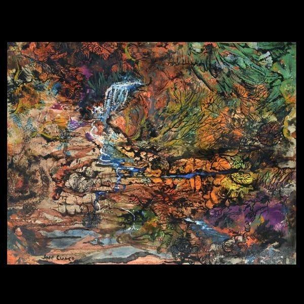 "Attrib. JOSE CUNEO ""Waterfall & Lake"" Mixed Media"