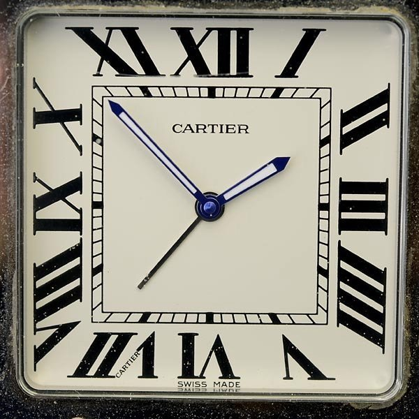 CARTIER STAINLESS STEEL, SANTOS DE TRAVEL CLOCK. - 2