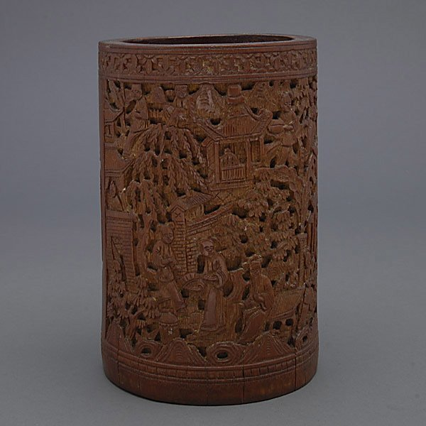 A Carved Bamboo Brush Pot, 19th C