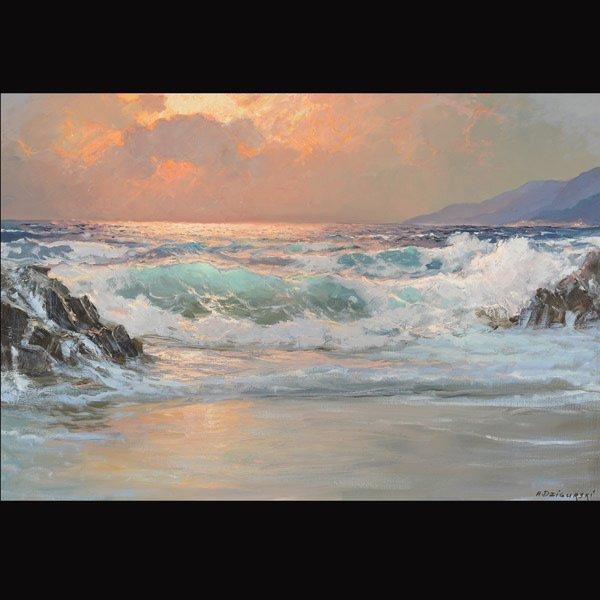 "ALEXANDER DZIGURSKI  ""Seascape"" Oil on canvas"