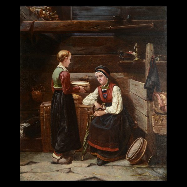 "AUGUSTA AKERLOF  ""A Norwegian Interior"" Oil"