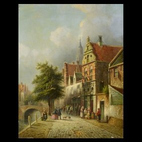 "Petrus Vertin ""Dutch Street Scene"" Oil"