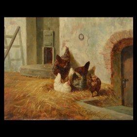 "Elchanon Verveer ""Chickens"" Oil"