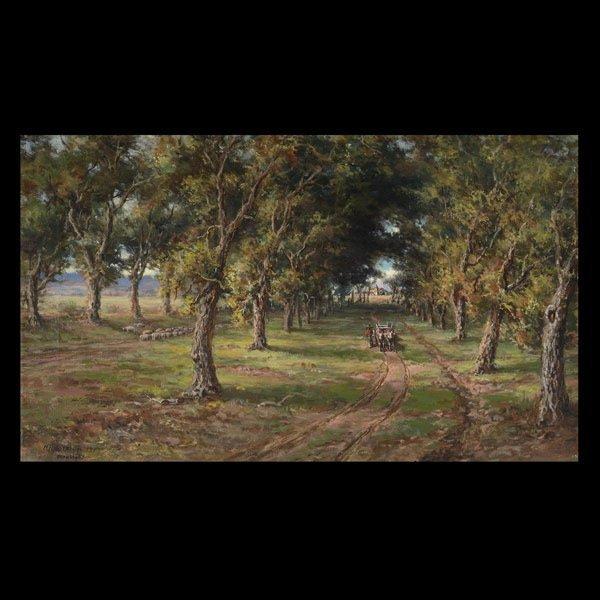 "Charles Harmon ""Redwoods, Santa Clara Mission"" Oil"