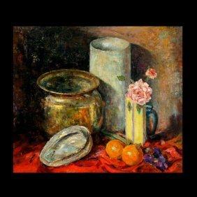 """DEDRICK STUBER  """"Still Life with Copper Pot"""" Oil"""