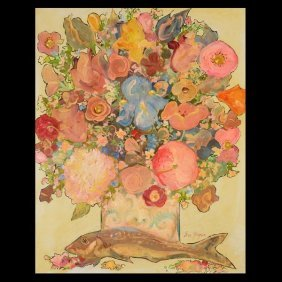 """IRA YEAGER   """"Floral Still Life with Fish""""  Oil"""