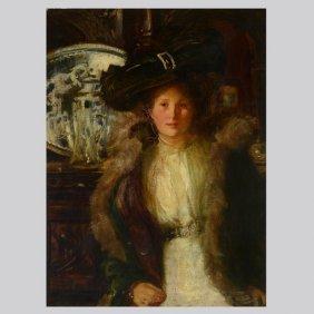 """Francis O Salisbury """"Portrait of a Lady"""" Oil"""