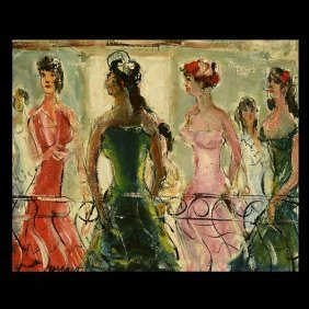 """Pascal Cucaro """"Ladies on the Balcony"""" Oil"""