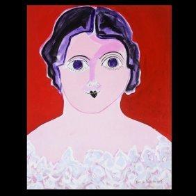 """GLORIA VANDERBILT  """"Doll's Head""""  Oil on canvas"""