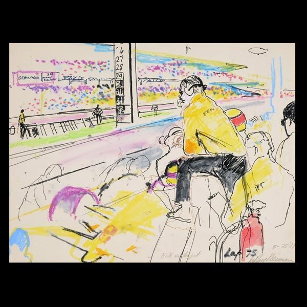 """LEROY NEIMAN  """"Rick in the Pit, 1987""""  Mixed media"""