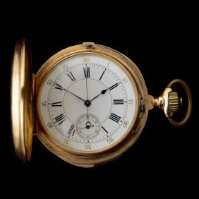 18K YELLOW GOLD REPEATER CHRONOGRAPH POCKET WATCH.
