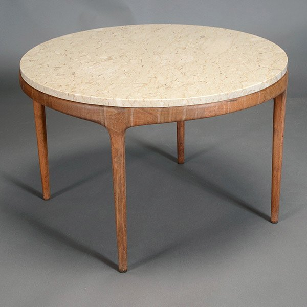Round Baker Occasional Table with Marble Top.