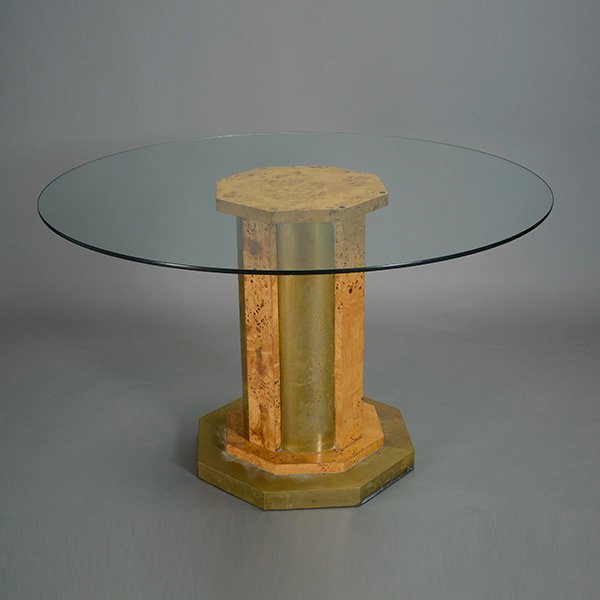 Tomasso Barbi Brass and Burl Glass Top Table.