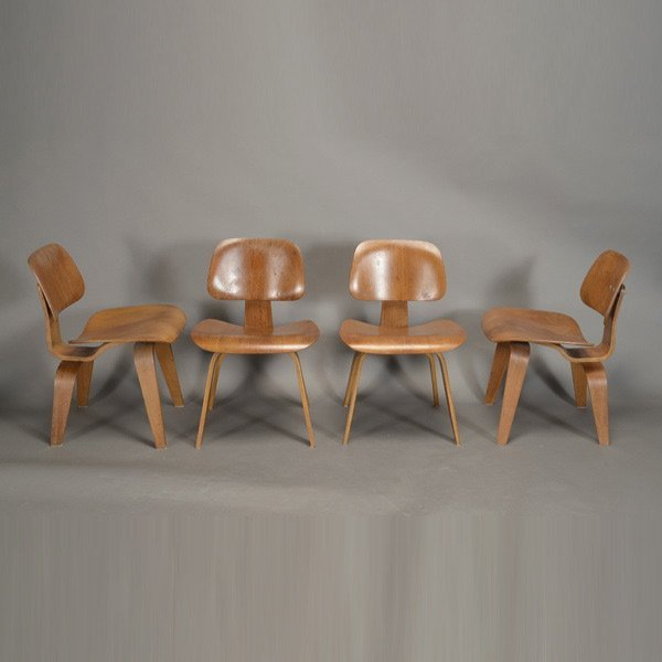 Set of Four DCW Chairs by Eames.