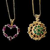 2 EMERALD RUBY DIAMOND YELLOW GOLD NECKLACES