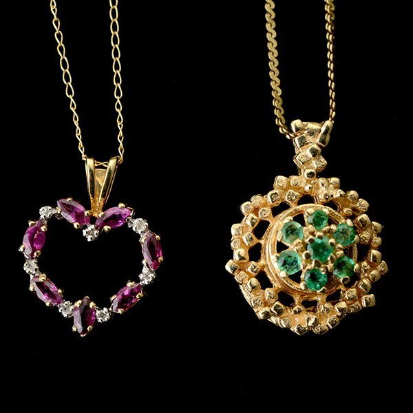 2 EMERALD, RUBY, DIAMOND, YELLOW GOLD NECKLACES.