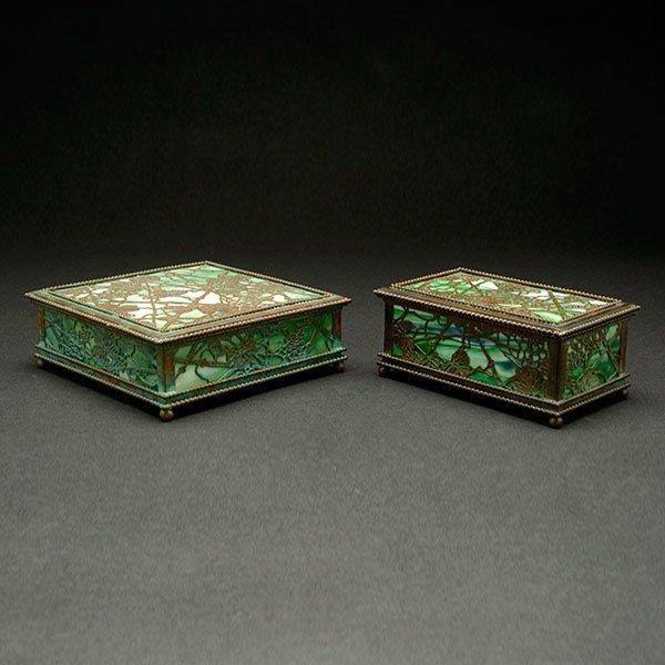 Pair of Tiffany Studios Grapevine Desk Set Boxes