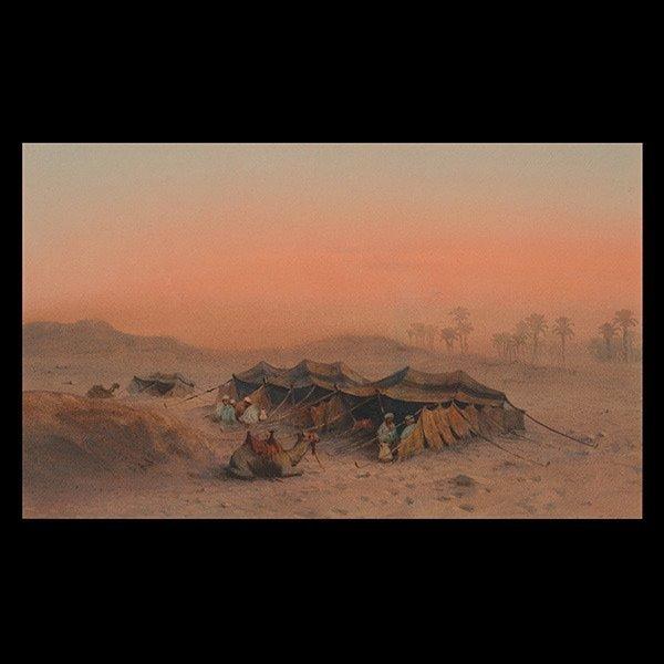 Desert Scene, Watercolor and gouache on paper.