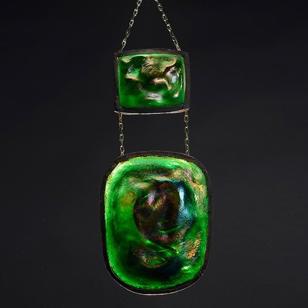 Tiffany Studios Turtleback Double Lamp Pendant.