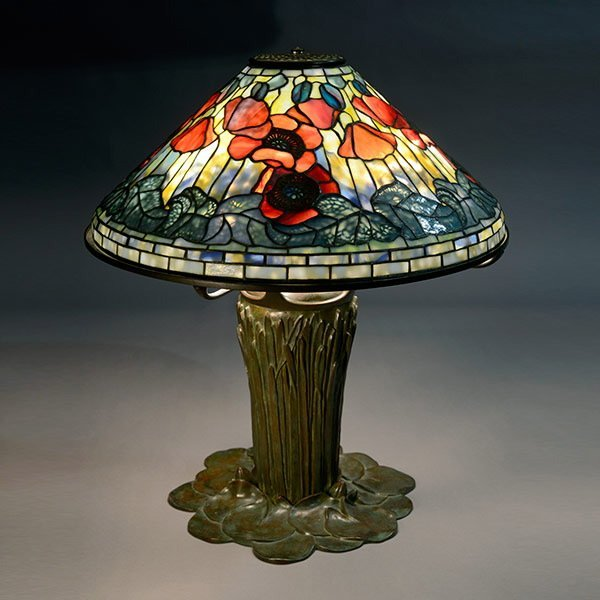 Tiffany Studios Poppy Table Lamp on Pond Lily Base