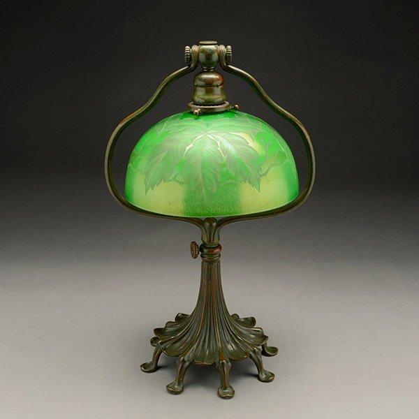 Tiffany Studios Carved Leaf Damascene Desk Lamp.
