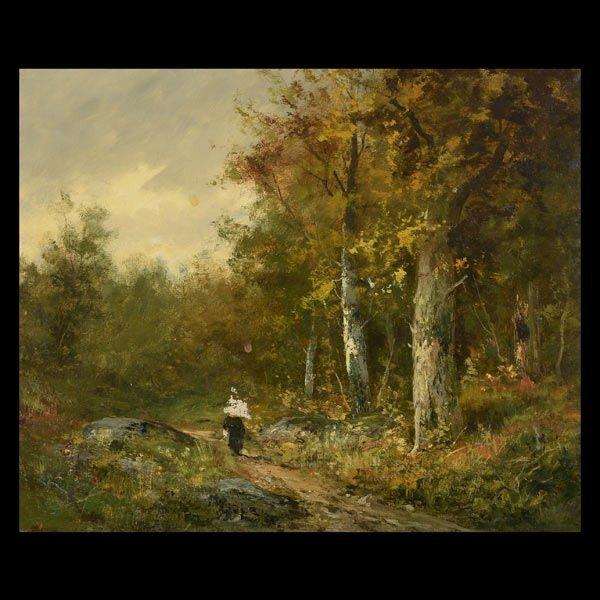 """Barbizon School  """"Route, Fontainebleau"""""""