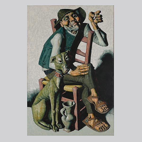 """JESUS VILLAR  """"Hombre con Perro""""  Oil"""