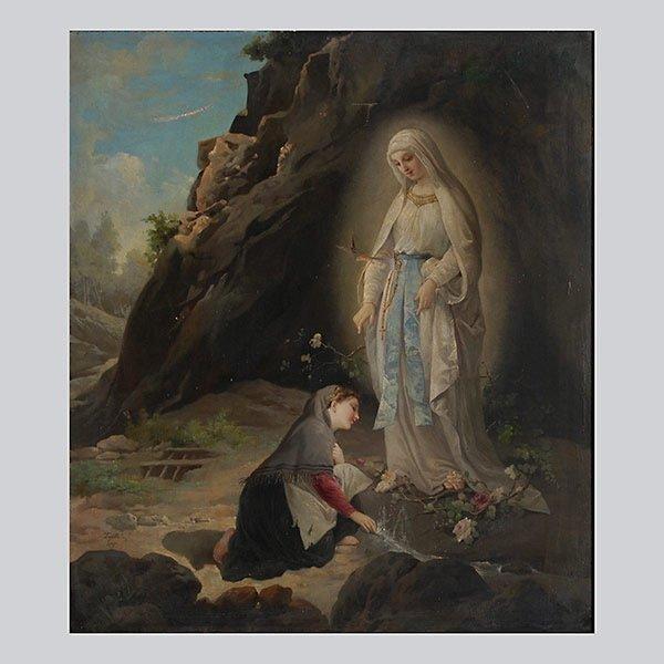 "EDUARDO TOJETTI ""Annunciation 1877"" Oil"
