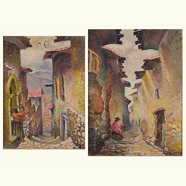 """D Mejia 2 works """"Purvian St. Scene"""" Oil"""