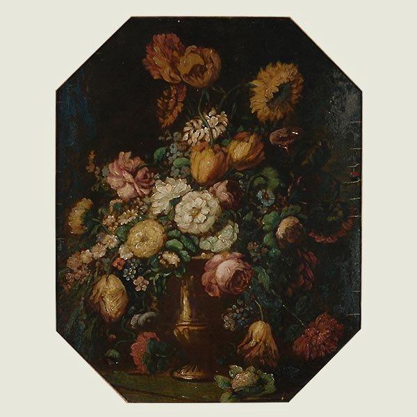 """Flemish School """"Floral Still Life"""" oil"""