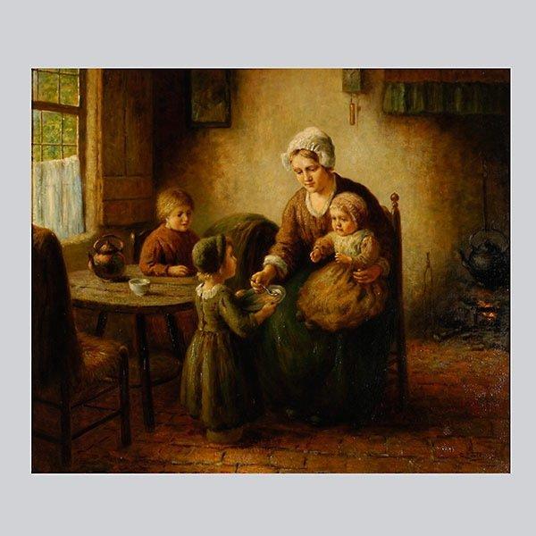 """CORNELIUS BOUTER """"Feeding the Baby"""" Oil"""