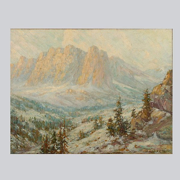 """Pearl Guenther """"High Sierra Mountains"""" Oil"""
