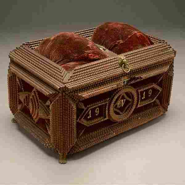 Tramp Art Chip Carved Sewing Box, 1919