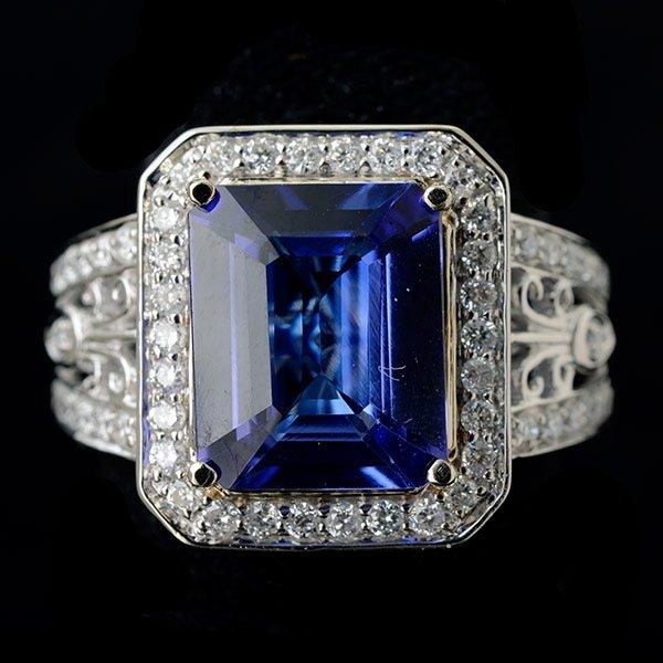 TANZANITE, DIAMOND, 14K WHITE GOLD RING.