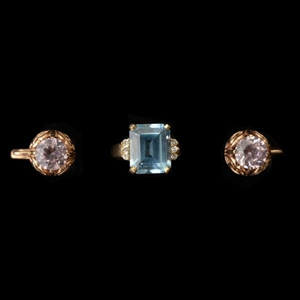 TWO MULTI-STONE, 14K YELLOW GOLD JEWELRY ITEMS.