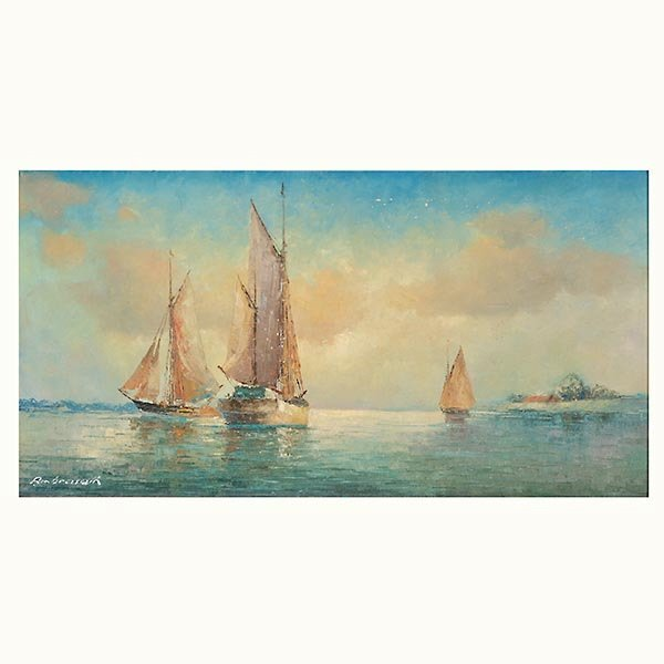 "FRANZ AMBRASATH ""Sailboats"" Oil"