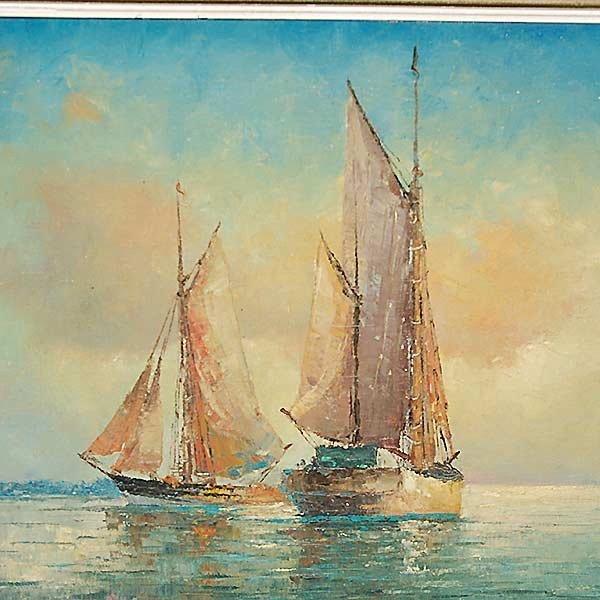 "FRANZ AMBRASATH ""Sailboats"" Oil - 3"