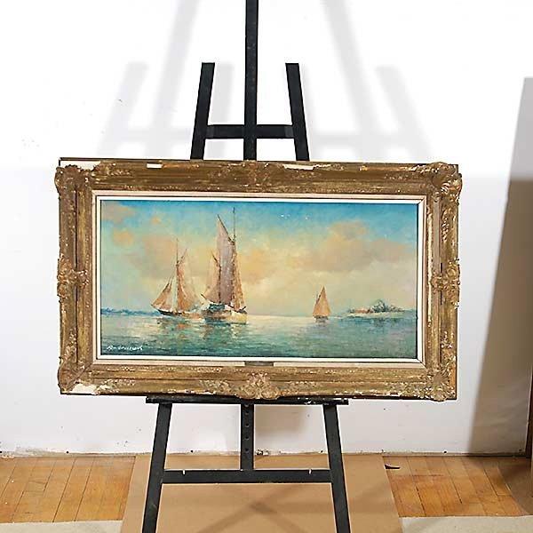 "FRANZ AMBRASATH ""Sailboats"" Oil - 4"