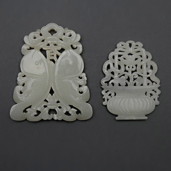Two Reticulated White Jade Pendants