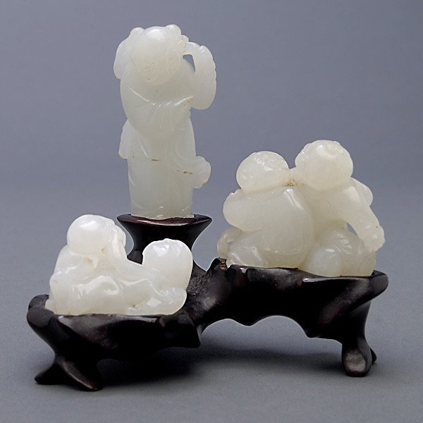 Three White Jade Figural Carvings