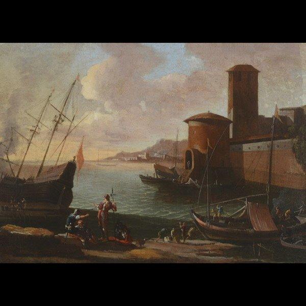 "Style of CLAUDE LORRAIN ""Italian Port"" Oil"