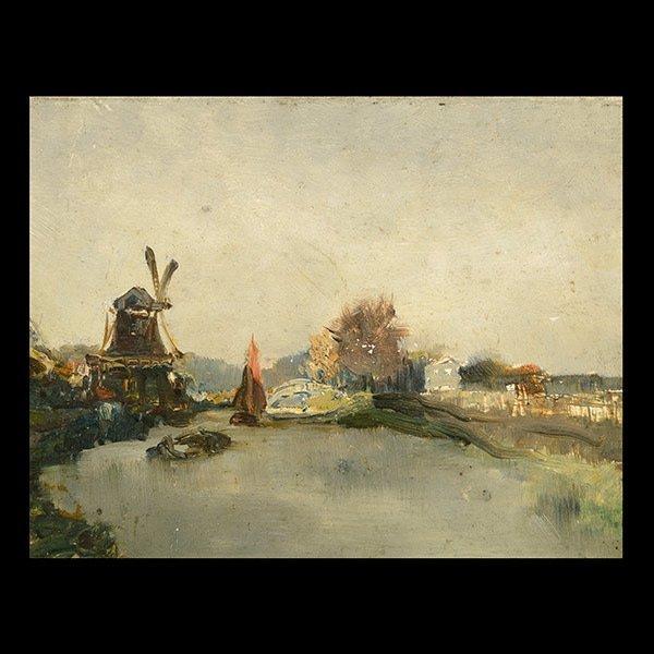 ARTHUR BRIET  Dutch Windmill   Oil